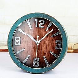 Alrens_DIY(TM) Brief Metal Numbers 3D Retro Round Wood Pattern Silent Non-ticking Desk Wall Clock Desk Clocks Vintage Alarm Clocks Table Clock (Green)