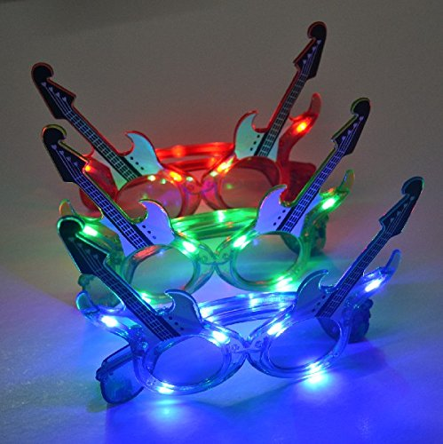 12 Pairs of LED Flashing Guitar Light Up Party Glasses