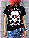 SALE☆MAD DOG ROCKERSパンク☆ロック系Tシャツ:骨骨ROCK ホネホネロック 黒(ブラック)X赤(レッド) S:size