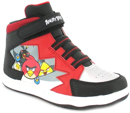 New Boys/Childrens Red Angry Bird High Top Trainers, Velcro Fastening - Red/White/Black - UK 10-2