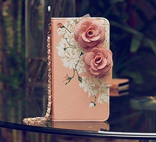 3D Rose FLOWER Beautiful Cute Camellia Handbag Leather Wallet Card Strap Case Cover For Smart Mobile Phones(Sharp Aquos Crystal 306SH) (Cute Sharp Aquos Crystal Case compare prices)