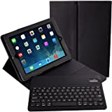 iPad Keyboard Case - Alpatronix KX100 Bluetooth iPad Keyboard Cases for iPad 4,3,2,1 with Removable Wireless Keyboard Feature Detachable Vegan Leather Folio iPad case with keyboard & Tablet Stand for all iPads. (Black)