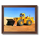 Caterpillar Cat 988B Heavy Wheel Loader Home Decor Wall Picture Cherry Framed Art Print