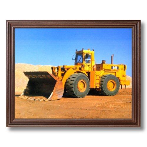 Framed Cherry Caterpillar Wheel Loader Wall Heavy Equipment Pictures Art Print