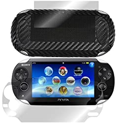 ArmorSuit MilitaryShield - Sony PlayStation Vita Black Carbon Fiber Film Protector Shield + Screen Protector with Lifetime Replacements