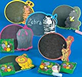 12 Cardboard Zoo Animal Magnetic Chalkboard Sets, Party Favors