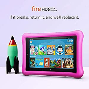 Fire HD 8 Kids Edition Tablet, 8 HD Display, 32 GB, Pink Kid-Proof Case (Color: Pink)