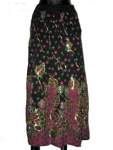 Casual Skirts -Black, Pink Color With Sequin Work Wrap Girls Comfortable Clothing In India Size 36 For Free Shipping