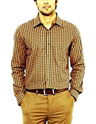 Paul Wilson Royal Blue & Yellow Check Cotton Blend Full Sleeves Formal Shirt For Men (PFS-26)