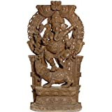 Lord Ganesha Dancing On His Rat - South Indian Temple Wood Carving