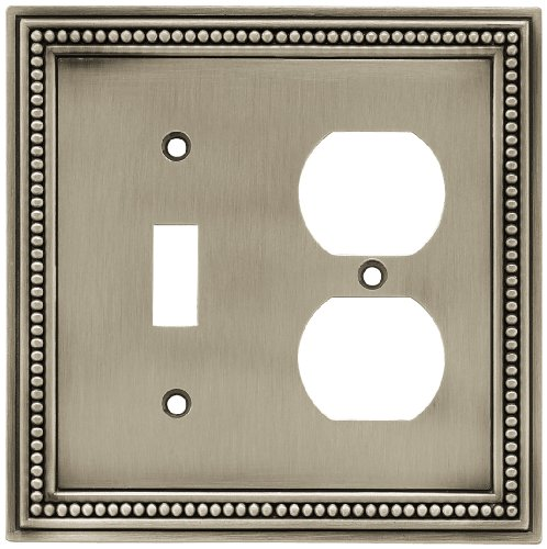 Brainerd 64766 Beaded Single Switch/Duplex Wall Plate / Switch Plate / Cover, Brushed Satin Pewter