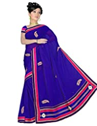 Alethia Blue Georgette Indian Wear Embroidered Sarees With Unstitched Blouse