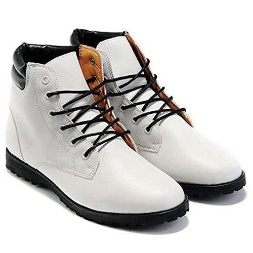 jeansian Moda Casuale Pelle Scarpe Inverno Stivali Scarpe da Uomo Boots White 9 US SHB029