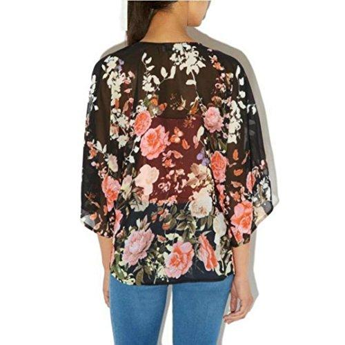 Orangesky Vintage Floral Kimono Boho Chiffon Cardigan 4