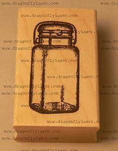 Small Mason jar rubber stamp