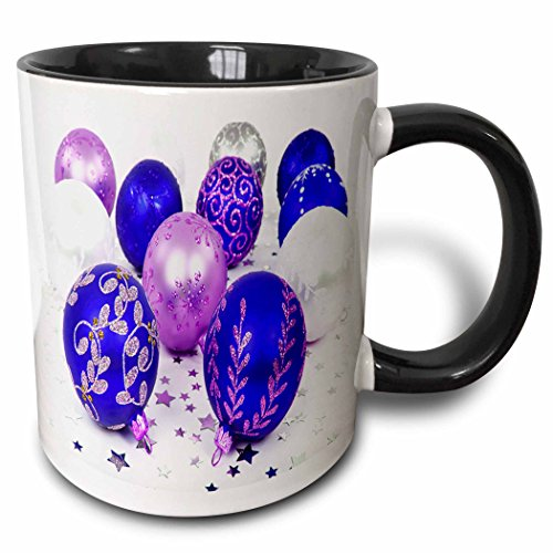 Yves Creations Christmas Decorations - Blue and Purple Christmas Baubles - 11oz Two-Tone Black Mug (mug_36870_4)