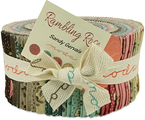 Moda Rambling Rose Jelly Roll, Set of 40 2.5x44-inch (6.4x112cm) Precut Cotton Fabric Strips