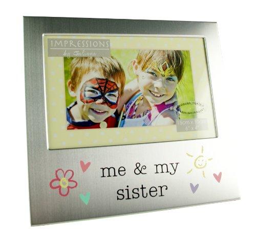 """& """"Me My Sister-Cornice per foto, in argento spazzolato"""