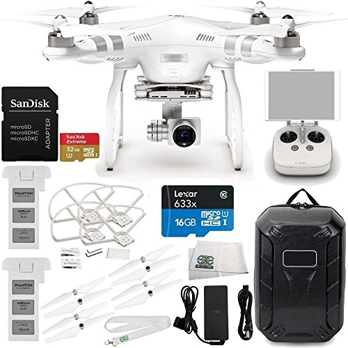 DJI Phantom 3 Advanced Quadcopter Drone w/ 1080p HD Video Camera & Manufacturer Accessories + Extra DJI Battery + Water-Resistant Hardshell Backpack + SanDisk Extreme 32GB microSDHC Memory Card + MORE