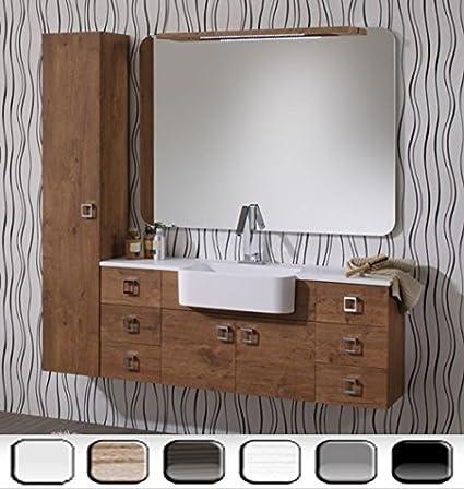 Mobile Arredo Bagno Florida 130+30cm sospeso con lavabo in marmoresina disp. bianco viola grigio tavolato Mobili