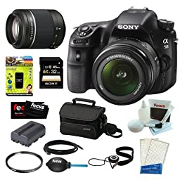 Sony Alpha a58 DSLR Camera with DT 18-55mm f/3.5-5.6 SAM II Lens and Sony DSLR SAL-55200/2 SAL 55-200 F4-5.6 Sam Lens plus 32GB Deluxe Accessory Bundle