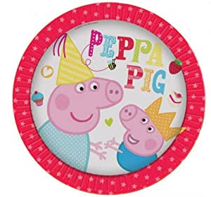 8 piatti di carta 23 cm per feste Peppa Pig