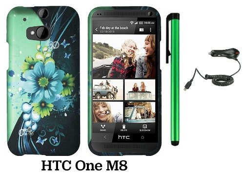 Htc One (M8) (For 2014 Htc New Flagship Android Phone; Us Carrier: Verizon, At&T, T-Mobile, Sprint) Premium Pretty Design Protector Hard Cover Case + Car Charger + 1 Of New Assorted Color Metal Stylus Touch Screen Pen (Sublime Flower White Drop)