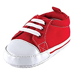 Luvable Friends Basic Canvas Sneaker (Infant), Red, 6-12 Months M US Infant