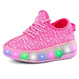 A2kmsmss5a Children Sneakers Wheels LED Luminous Boys Girl Shoes Glowing Sneakers with Charging Rollers Sneaker (Pink-02-Double - 6 M US Big Kid)