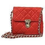 Prada BP0623 Rosso Red Tessuto Impuntu Pattina Nylon and Leather Chain Crossbody Bag