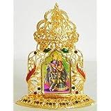 DollsofIndia Radha Krishna On Stone Studded And Golden Carved Metal Frame - Metal Frame - B00LD5S8XW