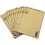 Hybsk(TM) 10 pcs Sheets Envelope Postcard Letter Stationary Storage Paper AirMail Vintage (Tan)