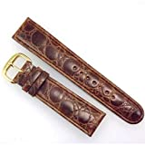 20mm Padded Brown Textured Leather Replacement Watch Strap / Band with Gold Tone Buckle