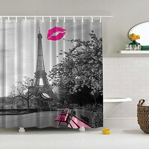 Moldiy Chic Grey Paris Eiffel Tower Waterproof Bathroom Shower Curtain - Peach Kiss Lips Printed Polyester Fabric Bathroom Home Decoration Curtain Ideas,72inch x 72 inch