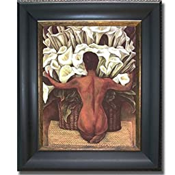 Nude with Calla Lillies by Diego Rivera Black & Gold Framed Canvas (Ready-to-Hang)