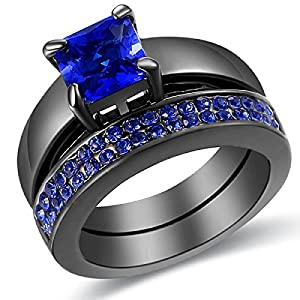 2 Piece Blue Diamond Black Gold Plated Princess Cut Wedding Engagement Ring Set Size 5-11