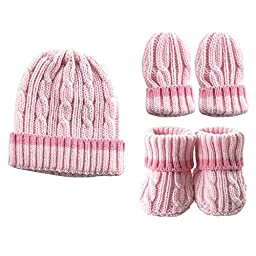 Luvable Friends Cableknit Hat, Mitten & Booties Gift Set, Pink,0 - 6 Months,Pink