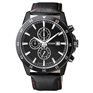 Citizen AN3575-03E Men's Quartz Black Ion Plated Leather Band Chronograph Watch
