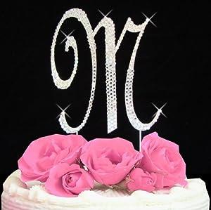 Amazon.com: Letter M - Swarovski Crystal Monogram Wedding ...
