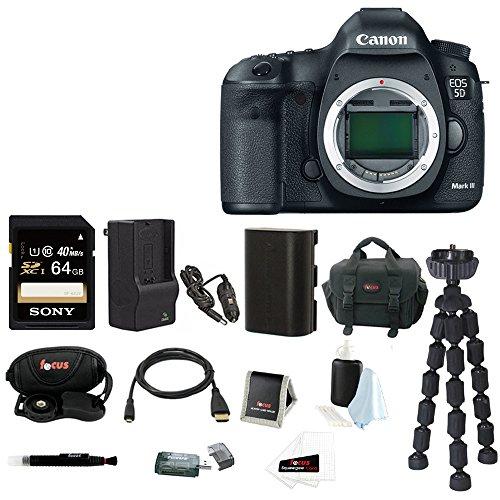Canon EOS 5D Mark III DSLR Digital Camera (Body) with 64GB SDXC Accessory Bundle