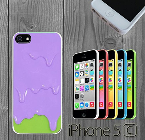 Purple Green Melting Ice Cream Custom made Case/Cover/Skin FOR iPhone 5C Color -White- Rubber Case (5c Melting Ice Cream Case compare prices)