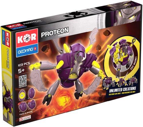 Geomag Kor Proteon Vulkram Transformer – 103 Piece Creative Magnet Playset Toy – Swiss Made – Part of Geomag