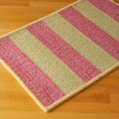 "Chenille Wide Stripe Pink / Green Kids / Juvenile Rug Size: 42"" x 66"""