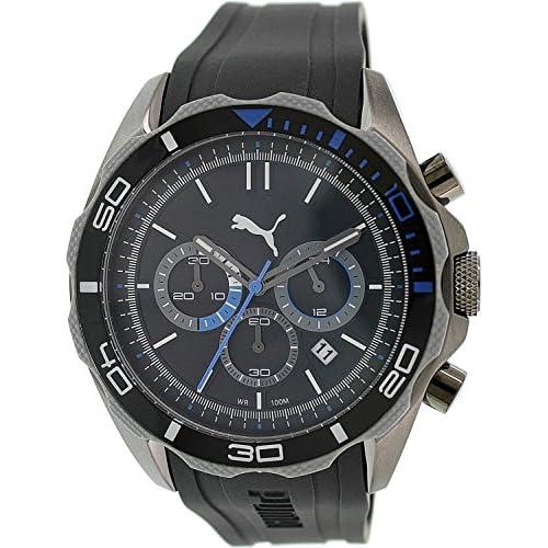 [プーマ] PUMA 腕時計 Men's Challenger Chrono Black Polyurethane Black Dial クォーツ PUMA-PU103191003 [バンド調節工具&高級セーム革セット]【並行輸入品】