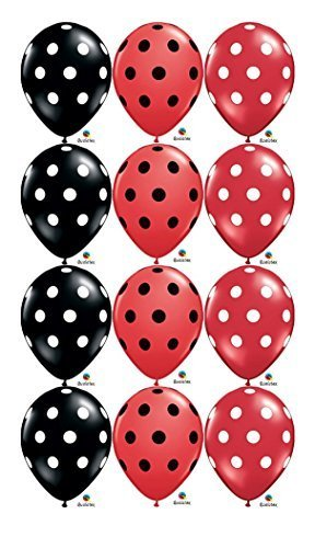 Ladybug-Red-Black-White-Polka-Dot-Birthday-11-Balloon-12-Latex-Mickey-Minnie-by-Qualatex