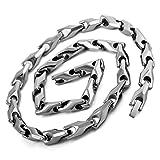 Mens Large Heavy 7mm Wide Tungsten Necklace Chain Silver Biker
