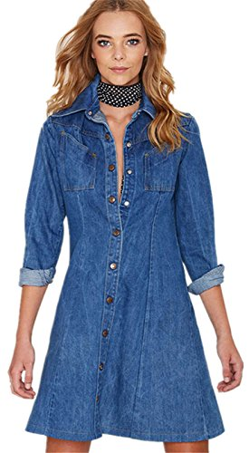 Moda Bottoni sul davanti Denim Jean Jeans Mini Skater Camicia Dress Vestito Abito Blu 2XL