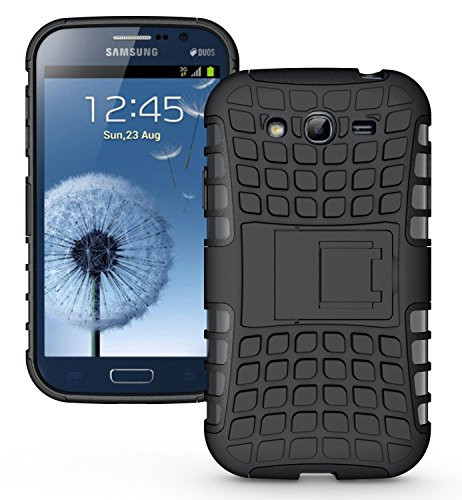 Cubix Defender Series Dual Layer Hybrid TPU + PC Kickstand Case Cover for Samsung Galaxy Grand 2 G7102 (Black)