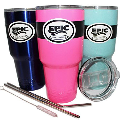 """EPIC NEON PINK Stainless Steel Tumbler Double Wall Vacuum Insulated Cup No Sweat Travel Mug Coffee Cup & Thermos Flask BPA Free Drinkware Multiple Colors & Sizes with 2 Lids and 2 9.5"""" Long Straws"""