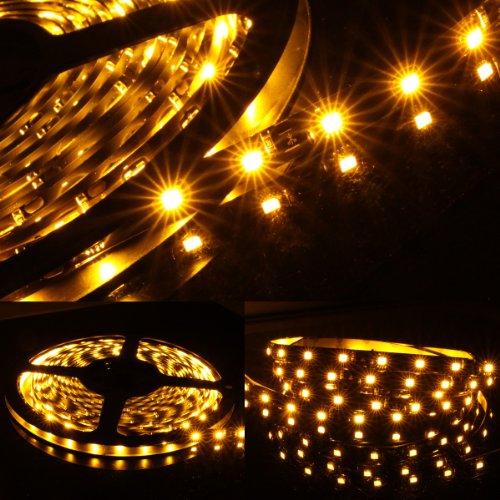 5M Meter 16 Ft Feet Roll 3528 Smd Led 300 Leds Waterproof Flexible Light Strip - Amber